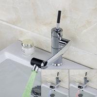 LED Chrome Bathroom Faucet Deck Mounted Bathroom Sink Tap Swivel Spout Basin Mixer Faucet 92420A