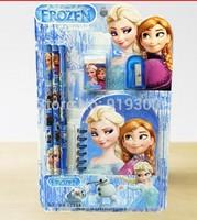 Free Shipping 5 sets/lot Frozen Stationery Set Pencil Note Book Eraser Sharpener Supplies Students Pencils Anna Elsa   #PB3