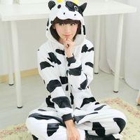 Flannel cow one-piece sleepwear cartoon long women girl nightgown autumn winter