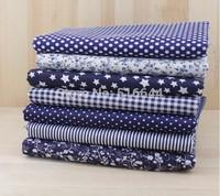 7 Fat Quarters Bundle 100% Cotton Fabric for Quilting 50*50cm - Dark BlueSeries