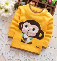Children's sweaters . Autumn cute monkey cotton crew neck sweater shoulder buckle children