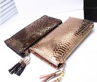 2014 fashion genuine leather snake grain gold cluth purses women's real cowhide long design handbag