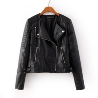 2014 New Autumn New Women Cool Faux Leather Motorcycle Jackets Lady Turn Down Collar Leather Coats Brand Design 3005305002