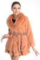 2014 Lady Fashion Natural Rex Rabbit Fur Coat Jacket with Fox Fur Collar Winter Women Fur Outerwear Coats QD70715