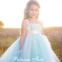 2014 Autunm Princess Ivory mix Mint Green Flower Girl Dress with Ribbon Girls Pageant Tutu Dresses For Wedding Birthday Party