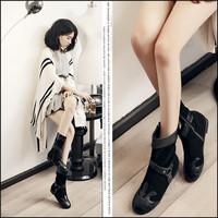 Geunime leather boots women New 2014 women's shoes Fashion mid-calf buckle women flat boots Big size EU34-43 Free shipping L2365