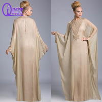 2014 High Crystal Beaded Neckline and Sleeve Chiffon Arabic Bat Sleeve Evening Dress For Muslim Woman