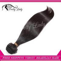 Pretty lady  hair one piece per lot 6A unprocessed Brazilian virgin straight hair extension  virgin hair DHL free shipping