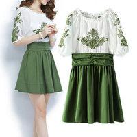 #YZX859 Free Shipping Top Quality 2014 New Women Half Sleeve Dresses Ladies Print Spring Summer Autumn Dress
