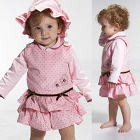 Toddler Girls 3pcs Set Outfits Longe Sleeve Tops+Tank Dress+Hat Costume 1-3Y Free&DropShipping
