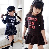 Kids Girls Toddler One Piece Dress Long Sleeve Plaids Checks Letter Print Dress Free&DropShipping