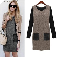 L-6XL 2014 Women Autumn Winter Warm Woolen PU Pocket Patchwork Mini Dresses Big size 5XL 4XL XXXL Ladies Vintage dress