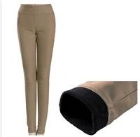 Thick Warm Winter  Pants Women  Fleece Pencil Pants Candy Color Women Cotton Pants Trousers Formal Pants Free Shipping 24