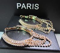 YTEH119 European Brand Luxury Full Tassel Crystal Elegant Hoop Earring Jewelry For Women Wedding Party Rose Gold Plated Brincos