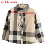 Casual Girls Blusa Shirt For 2-6yrs Kids Blouse Cotton Camisa Autumn Spring Childrens Shirts Plaid Infantil Fashion Style L015