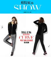 Women Plus Size XL-4XL Black Casual 2pcs Suit Set Zipper Cardigan+Long Pants Free Shipping 66386637
