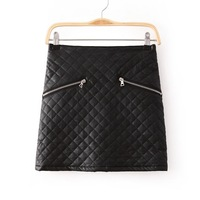 2014 New Autumn Women Fashion Black Plaids Above Knee Leather Mini A-Line Skirts With Zipper 6001305002