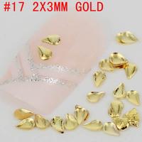 New! Tear shape 2x3mm 3D 500pcs metal nail art decoration free shipping Gold/Silver Nail Art Tips Metallic Studs sticker