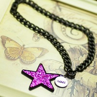 2014 Brand Women Statement Necklace Choker Jewelry Star Pendant Chain Necklace For Individuality Hip Girl Dance