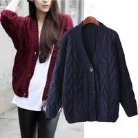 The fall of new Korean version of women's fashion V neck coarse wool Hemp flowers big button knit cardigan sweater