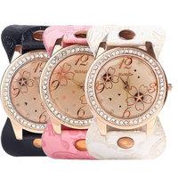 6 Colors Vintage Flower  Rhinestone Watches Casual  Flower Geneva Watch Women Leather Band Quartz Dress Watches