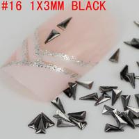 New! Triangle shape 1x3mm 3D 500pcs metal nail art decoration free shipping Gold/Silver Nail Art Tips Metallic Studs sticker