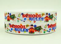 WM ribbon 7/8inch 22mm 140917029 School Style Pattern printing grosgrain ribbon 50yds/roll free shipping