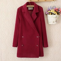 2014 New Autumn Women Fashion 4 Colors Long Sleeves Double Breasted Turn-Down Collar Slim Ladies Fashion Coats 3053401504