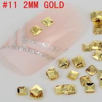 New! Square shape flat top 3D 500pcs metal nail art decoration free shipping Gold/Silver Nail Art Tips Metallic Studs sticker