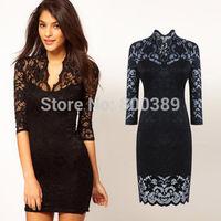 Quality Elegant Women Sexy Ladies Fashion V-neck Lace Party Dress Slim Stretch Dresses Bodycon Black/ White S-XXL Free Shipping