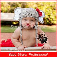 2014 Fashion Newborn Baby Handmade Knitted Costume Set Photography Props Hats Animal Elephant Designs Crochet Knitting Caps