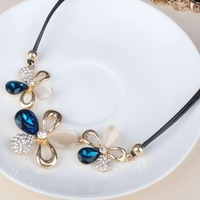2014 Brand Statement Necklace Choker Crystal Jewelry Statement Rhinestone Flower Rope Chain Necklace Sale Promotion!