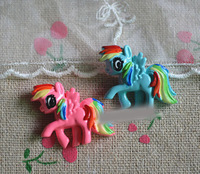 MY LITTLE PONY Diy Handmade Accessories Hairpin Children's hair accessories material Rainbow Pony Hair Clips Components 3.3*2cm