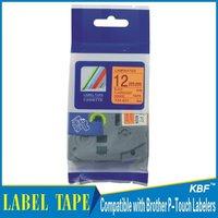 Cheap China 12mm black on fluorescent orange tz label tape tz-b31