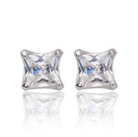 Allencoco Fashion women simple jewelry/ 5 mm square zircon 18k gold plated alloy earring studs WL0709