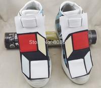 2014 Fashion Brand Men's High Top Sneakers Unique Celebrity Men Leather Shoes Gingham Designer Shoes Men