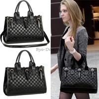 New Women Satchel PU Leather Cross Body Handbag Tote Shoulder Bag Messenger Black Color