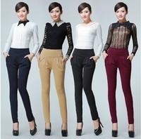 Big Plus Women Pants! M~3XXXL,4XL 2014 New Free Shipping Casual Elastic High Waisted Harem Pants Women Lady Work Wear Trousers