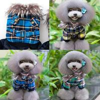 Small Dog Winter Clothes Puppy Plaid Faux Fur Collar Jumpsuit Four Legs Coat