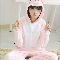 New autumn winter flannel pig women girl one-piece sleepwear cartoon long nightgown