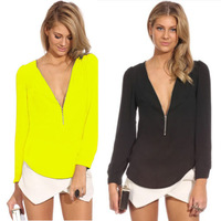 2014 Autumn Fashion Women's Blusa Shirt Blouse Casual New Neon V Neck Zipper Slim Long Sleeve Ladies Tops Blouse 6 colors S-XL