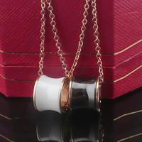Luxury Brand Logo Ceramic Pendant Necklace Short Chain Choker Necklace Women Men Lover Bijoux Titanium Stainless Steel Accessory