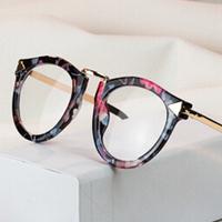 Fashion Arrow eye glasses frames for women 2014 vintage brand flower print Glasses frames eyewear Clear Lens oculos