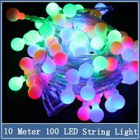1x Christmas Plastic String Light 10m 100 LED Ball EU 220V Wedding Holiday Indoor Outdoor Decoration Colorful String Lighting