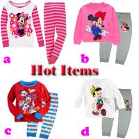 2014 New Baby Wear Girls boys Pajamas Children's Cartoon Pyjamas Suits Kids Printed Sleepwears Home Clothing BOS.S2