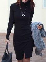Brief Bodycon Dress Fashion Women Dress Solid Color Turtleneck Long Sleeve Slit Front Design Packet Buttock Dress For Women