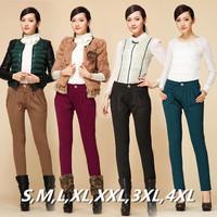 Big Plus Size Velvet Pants! S~3XXXL,4XL 2014 Winter Casual High Waist Warm Harem Boot Pants Women Trousers Female pencil pant