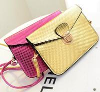 2014 winter fashion new woman messenger bag patent plaid leather handbag clutch bag diagonal MINI premium metal lock small bag