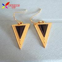 2014 new fashion punk gold alloy black stone designer triangle drop earrings for women brincos bijoux wholesale
