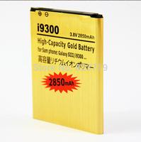 Hot sale 100pcs/lot High capacity 3.8v 2850mah gold battery for Samsung Galaxy s3 i9300 free shipping